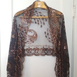 Vintage peacock sequined shawl
